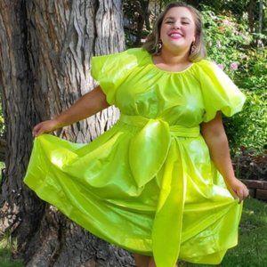 Puff Sleeve Tie Waist Volume Dress